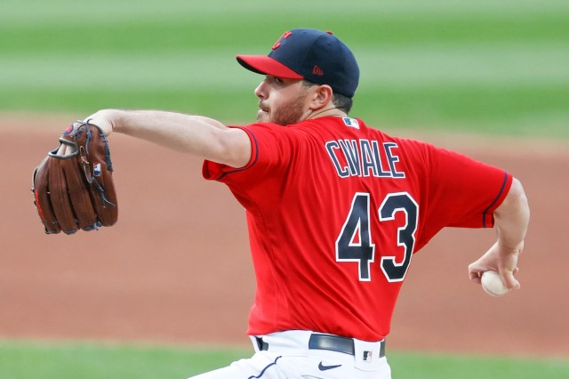 Cleveland Indians pitcher Aaron Civale delivers against the Chicago White Sox during the first inning of a baseball game, Monday, Sept. 21, 2020, in Cleveland. (AP Photo/Ron Schwane)