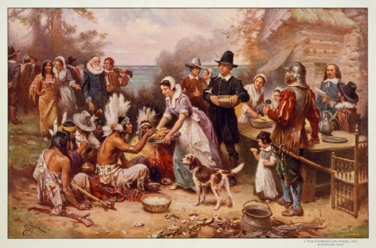 "This is a reproduction of a painting by Jean Leon Gerome Ferris titled, ""First Thanksgiving,"" made between 1900-1920."