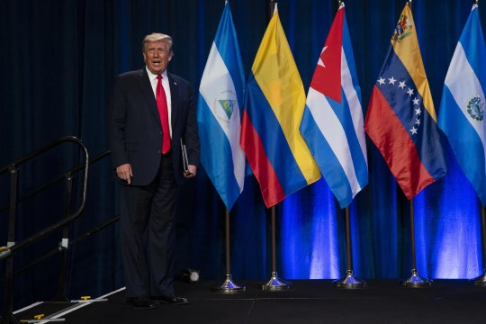 President Donald Trump arrives for a Latinos for Trump event at Trump National Doral Miami resort, Friday, Sept. 25, 2020, in Doral, Fla. (AP Photo/Evan Vucci)