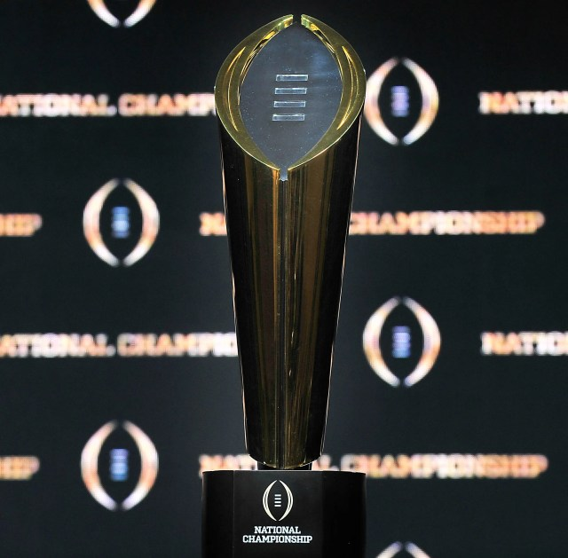 The College Football Playoff championship trophy.