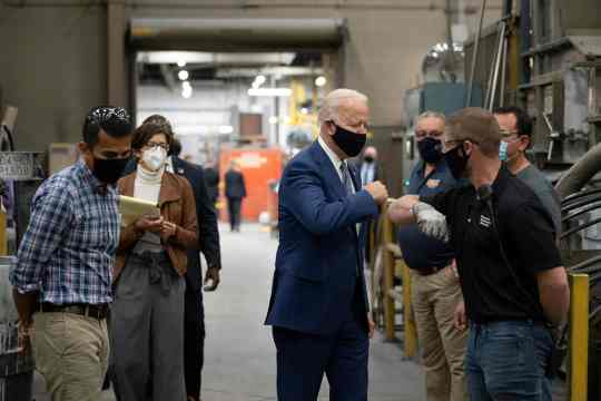 Democratic Presidential Candidate Joe Biden visits an aluminum manufacturing facility in Manitowoc, Wisconsin, on September 21, 2020.