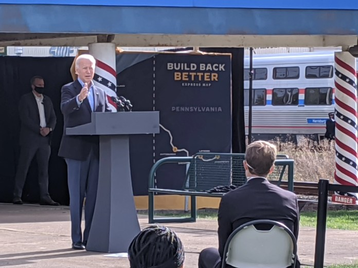 Former Vice President Joe Biden speaks at Cleveland's Amtrak station Wednesday morning before board a train his campaign rented for a whistle-stop tour of eastern Ohio and western Pennsylvania