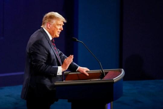 President Donald Trump debates Democratic presidential candidate Joe Biden in Cleveland.