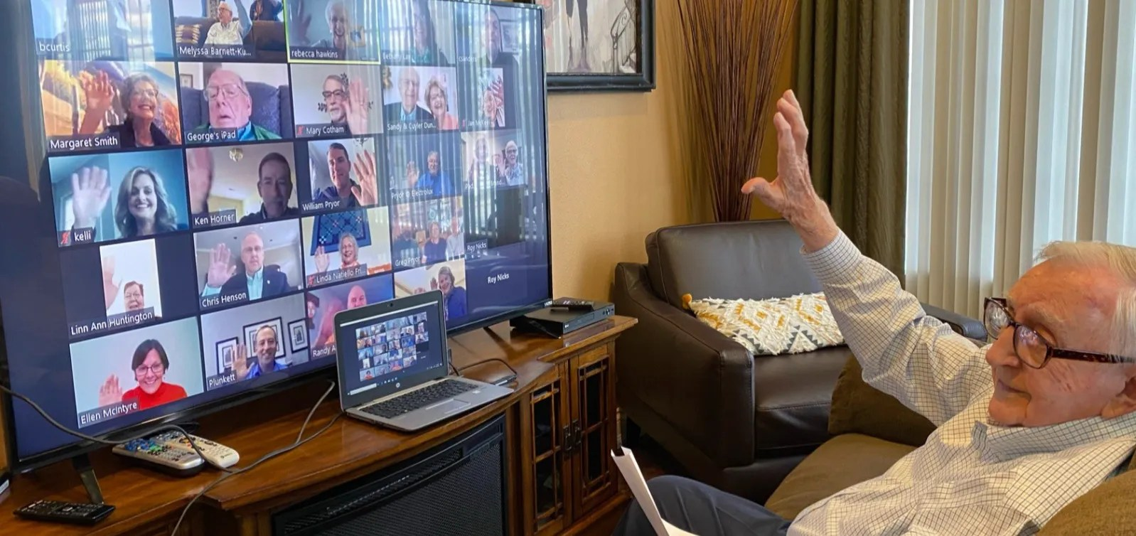 Dr. Harold S. Pryor, the first president of Columbia State Community College, celebrates his 100th birthday with family and friends through a video conference call at The Bridge of Columbia on Oct. 3, 2020.