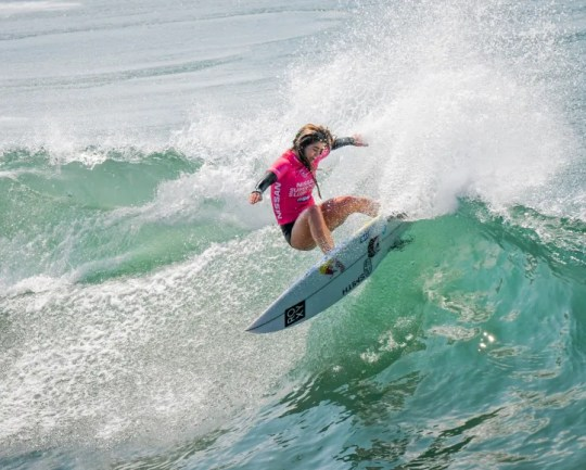 USA Olympian Caroline Marks of Melbourne Beach competes in the Nissan Super Girl Surf  Pro in California.