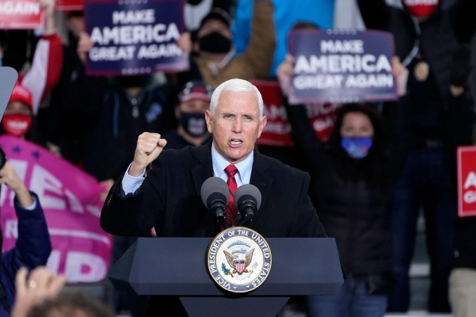 Vice President Mike Pence speaks in Waterford Township, Mich., Thursday, Oct. 22, 2020.