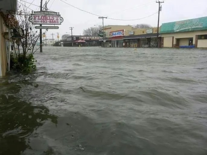 The streets of Beach Haven flooding during superstorm Sandy in 2012.
