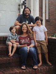Brigid Kaelin, 42, center, poses with her husband David Caldwell, and their sons Angus,4, and Graham, 8. Kaelin is a well-known, Louisville-based singer songwriter, who is currently fighting breast cancer.