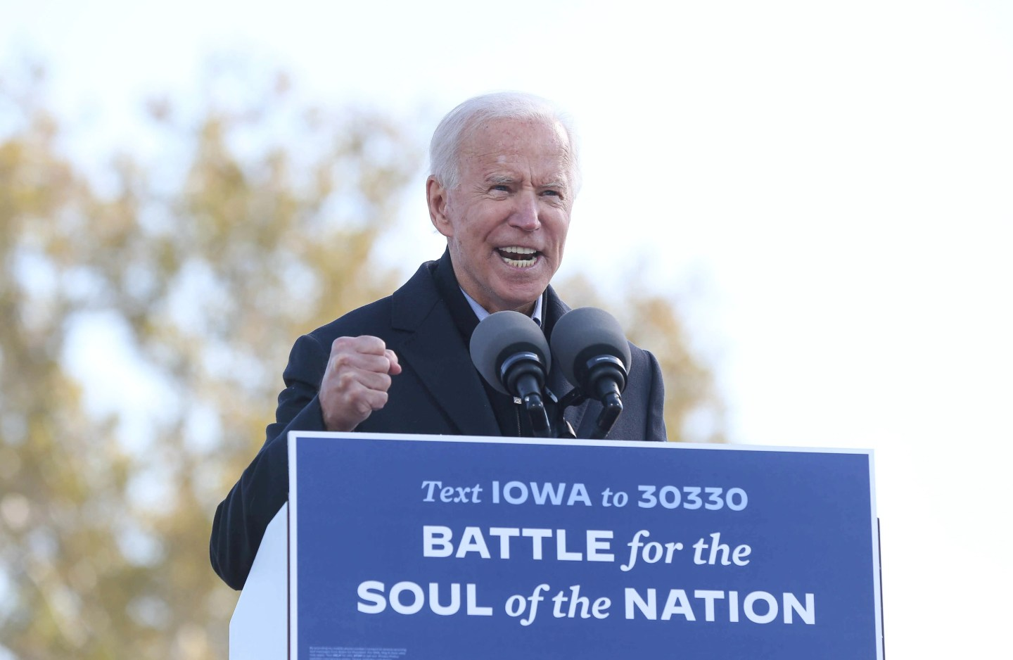 Democratic presidential candidate Joe Biden speaks to supporters at the Iowa State Fairgrounds in Des Moines on Friday, Oct. 30, 2020.