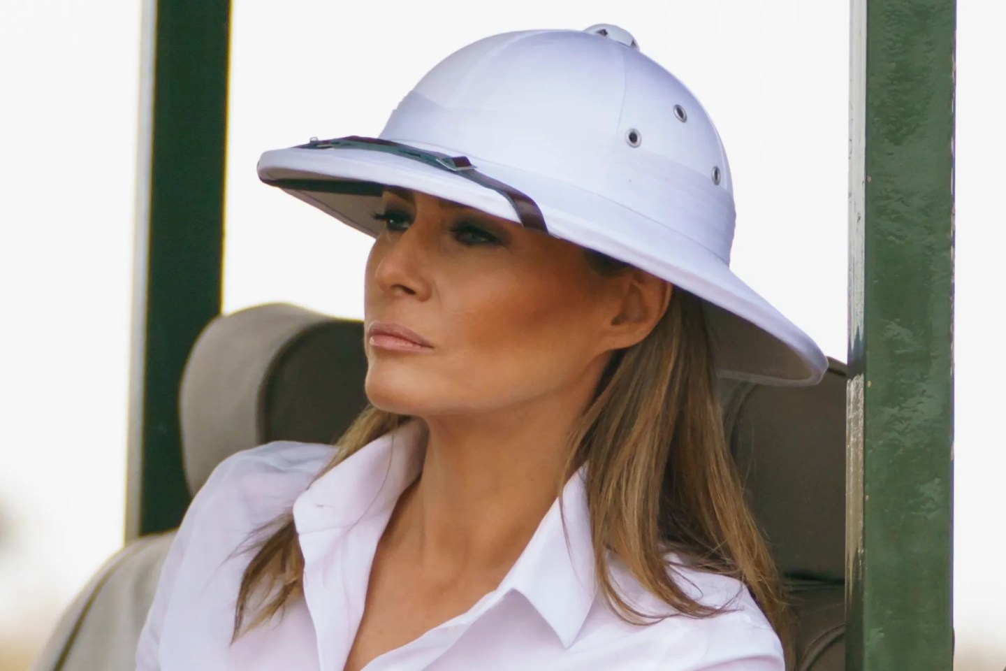 First lady Melania Trump looks out over Nairobi National Park in Nairobi, Kenya, Oct. 5, 2018, during her four-country tour of Africa.