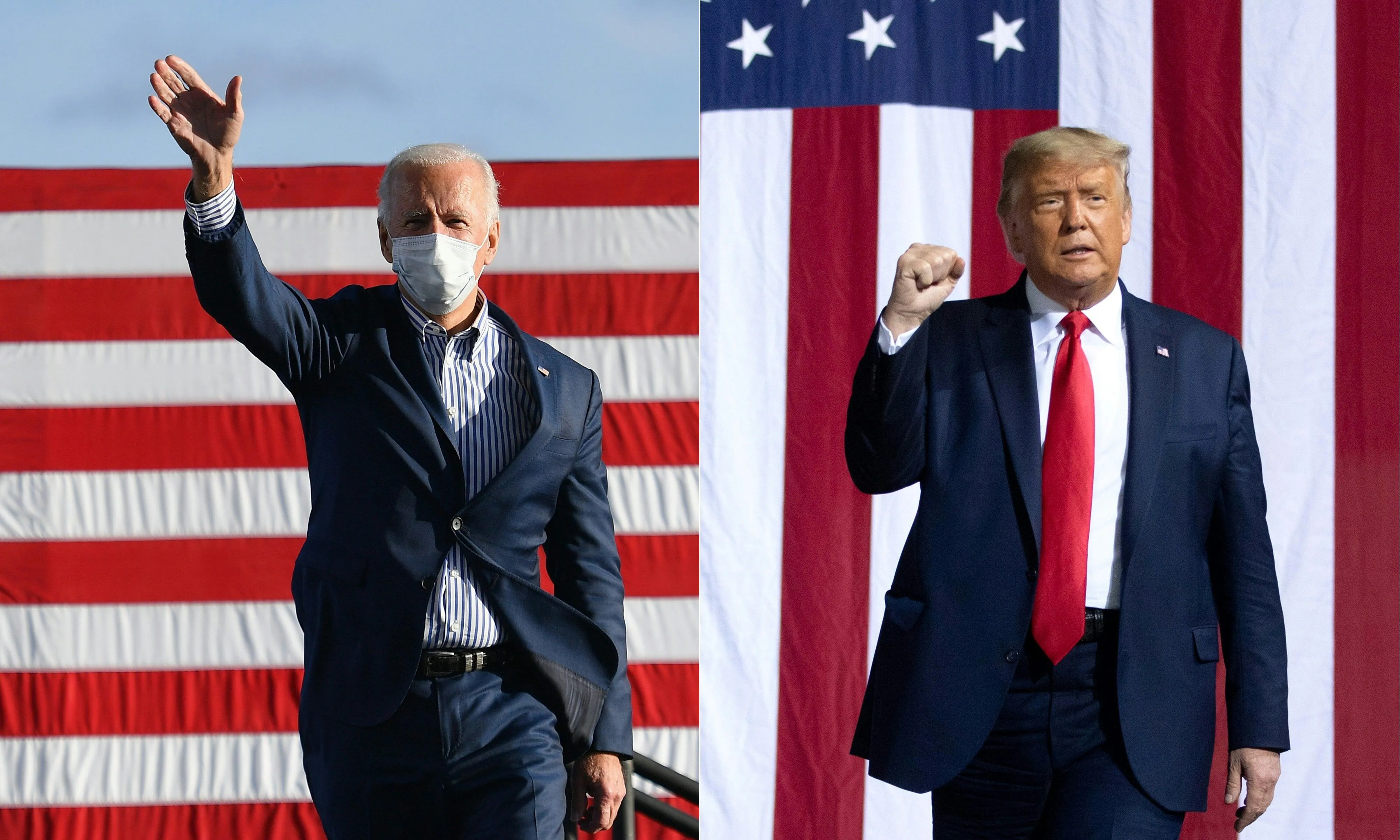 Democratic presidential nominee Joe Biden (left) and President Donald Trump (right) are pictured during their respective campaigns.