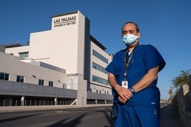 """The health care system in El Paso is """"in near collapse,"""" says Juan Anchondo, a nurse at Las Palmas Medical Center. He is shown Nov. 7, 2020."""