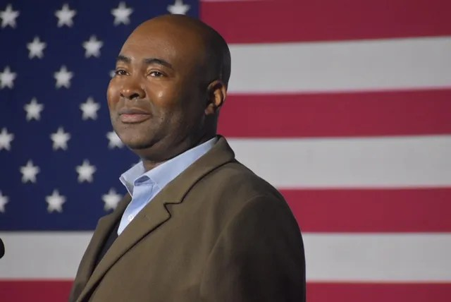 Jaime Harrison, a Democratic candidate for a U.S. Senate seat in South Carolina, speaks to supporters after his defeat, Nov. 3, 2020.