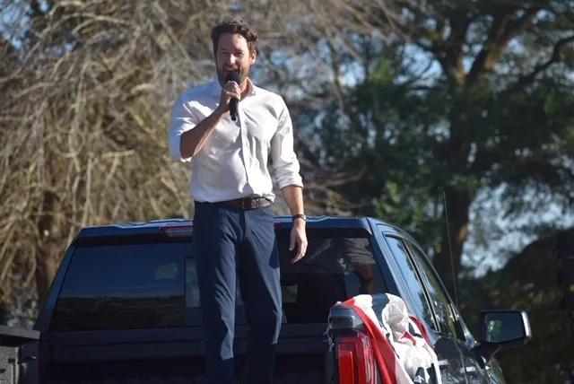 """Rep. Joe Cunningham, a Democrat from South Carolina,  spoke at a campaign rally in North Charleston, Nov. 1, 2020. He called it the """"honor of my lifetime"""" to serve with civil rights legends, including Reps. James Clyburn of South Carolina and the late John Lewis of Georgia."""