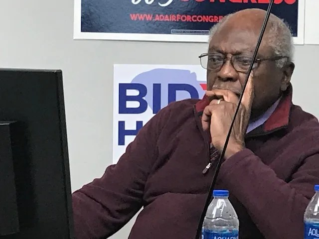 U.S. Rep. James Clyburn, a Democrat from South Carolina, conducted television and radio interviews Nov. 3, 2020, from his campaign headquarters in Columbia. He urged voters to cast their ballots before the polls closed that night.