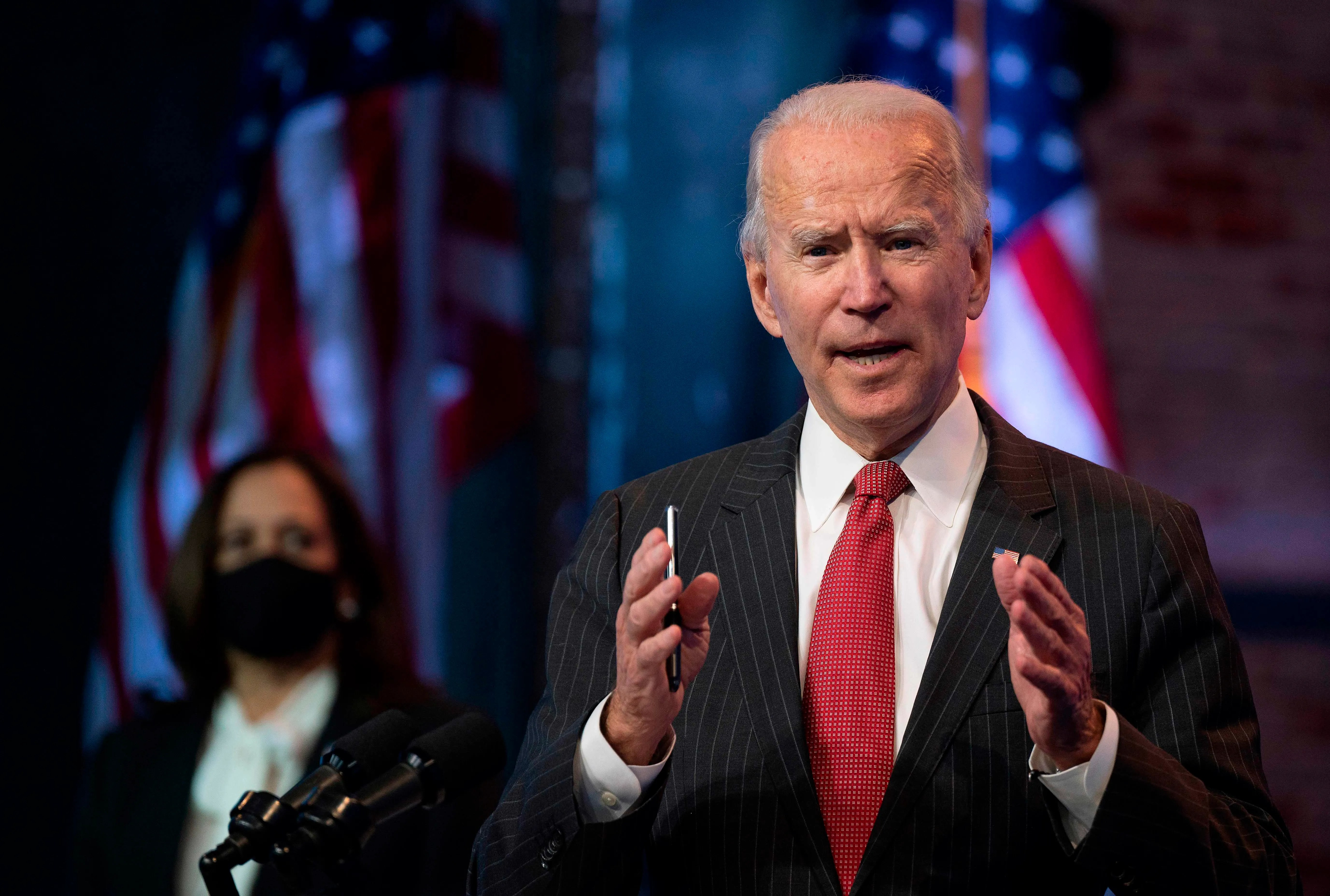 President-elect Joe Biden speaks after a meeting with governors in Wilmington, Delaware, on Thursday. Biden said today he would not order a nationwide shutdown to fight the COVID-19 pandemic despite a surge in cases.