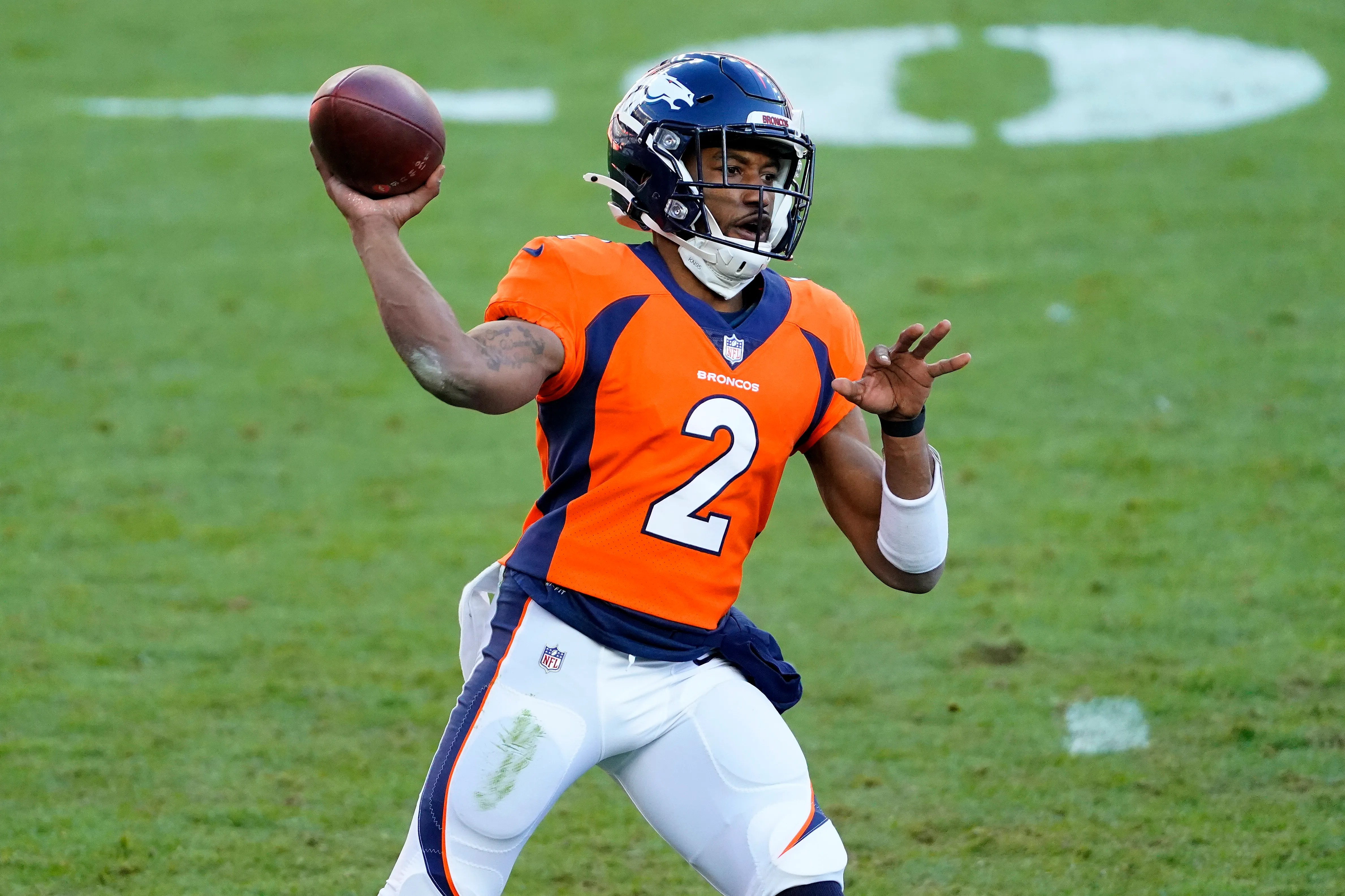 Denver Broncos quarterback Kendall Hinton (2) takes on the New Orleans Saints in the first half of an NFL football game on Sunday, November 29, 2020, in Denver.