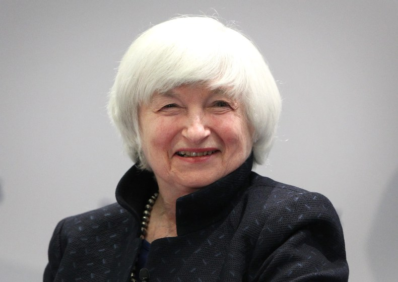 """In this file photo taken on November 14, 2017 US Federal Reserve chief Janet Yellen smiles as she attends a conference titled """"Communications Challenges for Policy Effectiveness"""" organized by the European Central Bank (ECB) at the ECB headquarters in Frankfurt am Main, western Germany."""