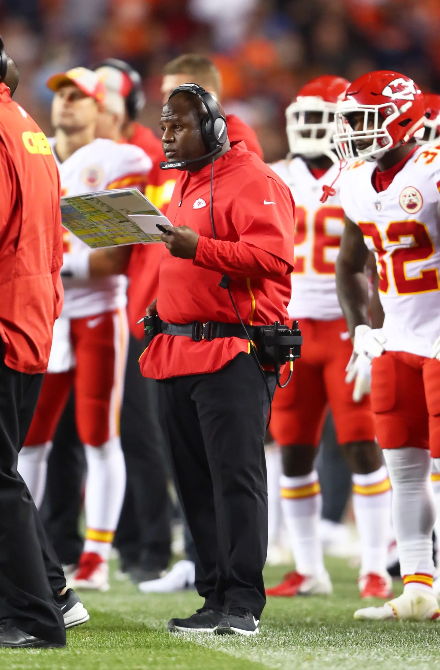 Eric Bieniemy, the Chiefs' offensive coordinator, is one of the hot coaching candidates in the NFL.