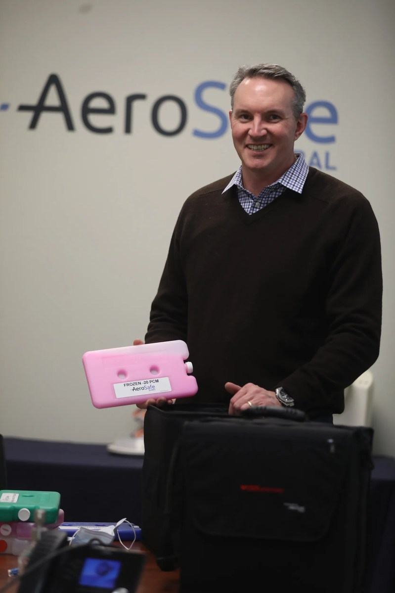 Jay McHarg, CEO of AeroSafe Global, holds one of their phase change solution packages, the stuff that keeps things cool, in his hand.  They make several different kinds that keep products at a very cold temperature.   AeroSafe Global works with biopharma companies on packing and help ship their products.  The only non biopharma business they do is with NASA.  Lately they have been focused on shipping the COVID-19 vaccine working on making different storage and delivery packaging for their clients which also include pharmacies.   One of the things the company does is use items that are made in Rochester.   For example, the container holding the phase change is made in Rochester.