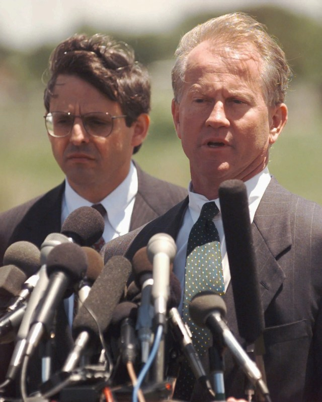 Deputy U.S. Attorney Merrick Garland, left, and interim U.S. Attorney Patrick Ryan answer questions during a news conference May 18, 1995, in El Reno, Okla. Garland, a  Harvard lawyer, was the Justice Department's point man on the Oklahoma City bombing investigation.