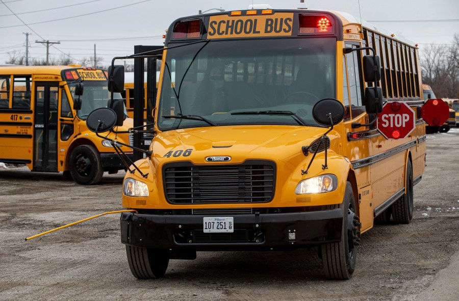 One of the new school buses unveiled by First Student, Monday, January 11, 2021, in Springfield, Ill. First Student will be replacing 76 of the approximately 200 buses that serve District 186 that will be outfitted with advanced tablet technology and audio programming that allows drivers to access important information, including the fastest routes. The buses will also have WiFi camera systems with FirstView technology that enables parents to track their child's bus and FirstACTS a web-based communication tool that helps efficiently track student conduct on school buses. [Justin L. Fowler/The State Journal-Register]