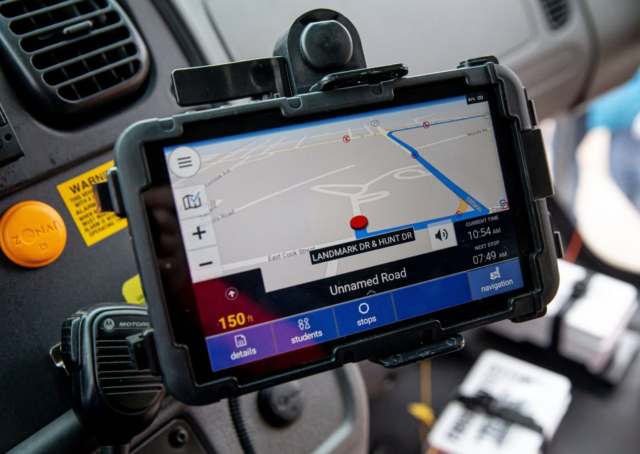 A new tablet system installed in one new school buses from First Student that will be used to show drivers routes as well as a system for reporting student behavior while on the bus, Monday, January 11, 2021, in Springfield, Ill. First Student will be replacing 76 of the approximately 200 buses that serve District 186 that will be outfitted with advanced tablet technology and audio programming that allows drivers to access important information, including the fastest routes. The buses will also have WiFi camera systems with FirstView technology that enables parents to track their child's bus and FirstACTS a web-based communication tool that helps efficiently track student conduct on school buses. [Justin L. Fowler/The State Journal-Register]