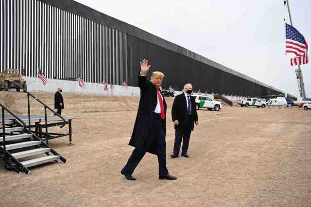 President Donald Trump on Jan. 12, 2021, in Alamo, Texas.