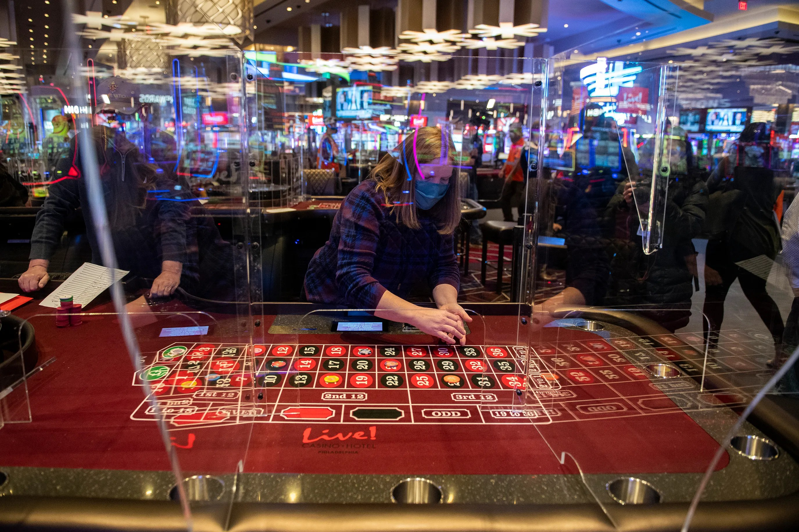 Interns work on the new Live!  Casino & Hotel in Philadelphia on Thursday, January 14, 2021.