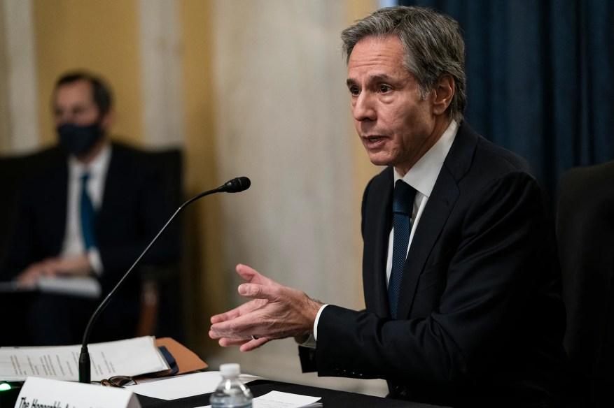 Antony Blinken témoigne lors de son audience de confirmation pour devenir secrétaire d'État devant la commission des relations étrangères du Sénat à Washington le 19 janvier.