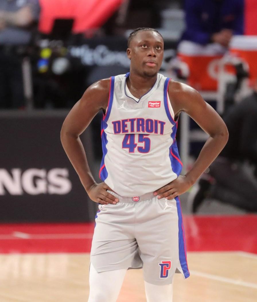 Detroit Pistons leader Sekou Doumbouya (45) in action against the Philadelphia 76ers on January 25, 2021 at the Little Caesars Arena in Detroit.