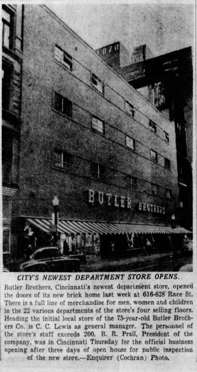 Butler Brothers department store remodeled the store at 616-628 Race St., in 1951. The photo of the new brick storefront appeared in The Enquirer Oct. 8, 1951.