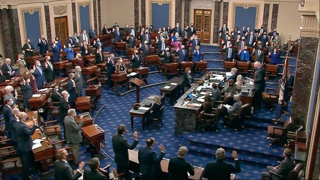 f4991033 8960 4c8e bde8 cfa5299a0f88 AP Trump Impeachment.1 Politics updates: 11 Republicans vote to remove Greene from committees; Biden withdraws 30 Trump nominations
