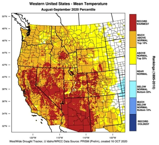 A map produced with data tools available at West Wide Drought Tracker shows the temperatures recorded in August and September, 2020 throughout the west, colored according to their deviation from the long-term normal temperatures for these areas.