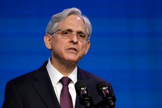 Attorney general nominee Judge Merrick Garland speaks during an event with President-elect Joe Biden and Vice President-elect Kamala Harris.