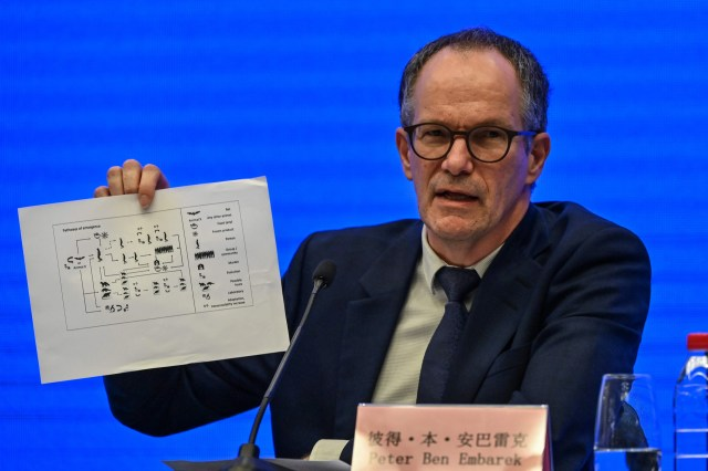 Scientist Peter Ben Embarek speaks during a press conference to wrap up a visit by an international team of experts from the World Health Organization in the city of Wuhan, China, on February 9, 2021.