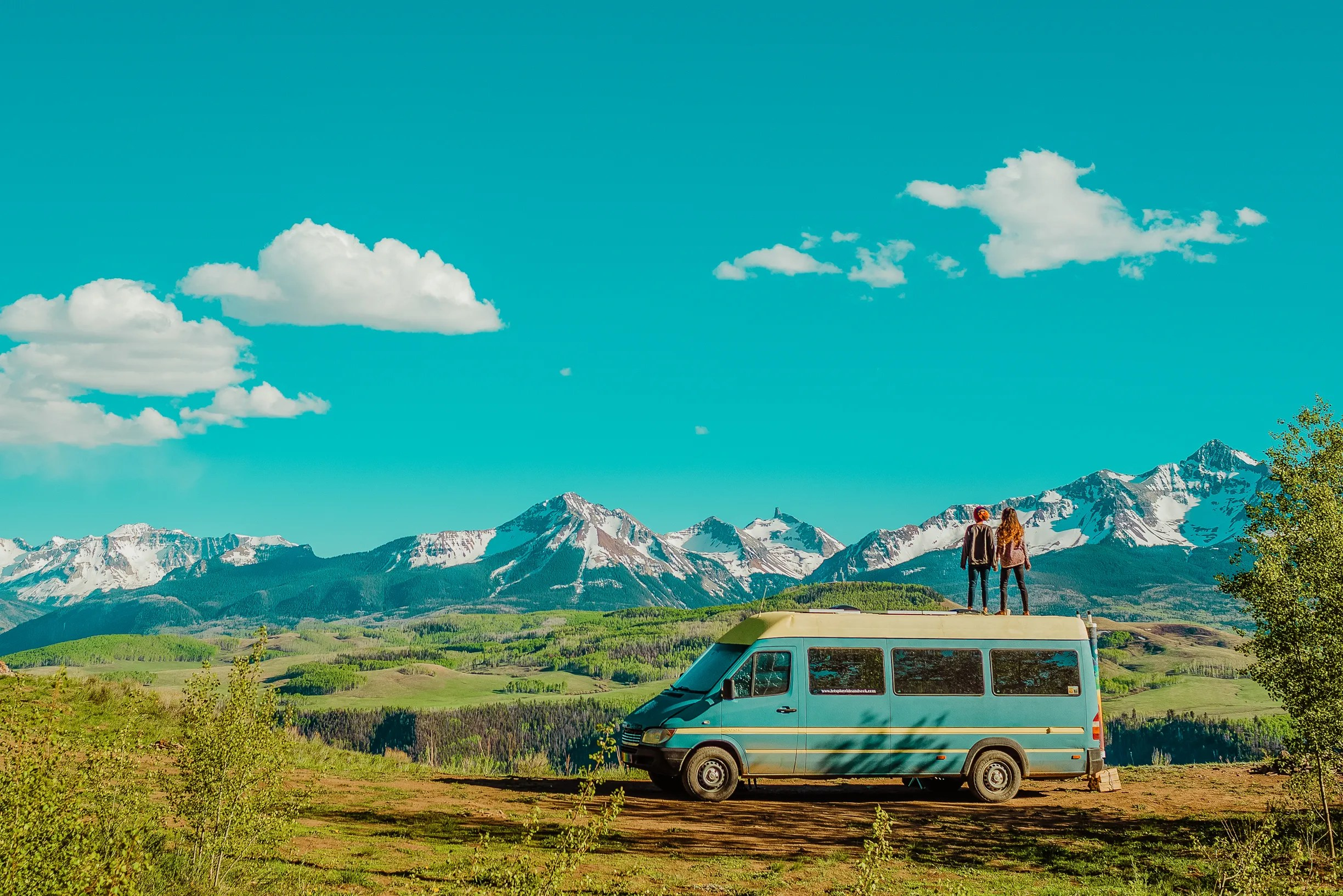 Married couple Natalie and Abigail Rodriguez travel the country living in a converted Mercedes-Benz Sprinter van and showcasing their adventures on Instagram @letsplayrideandseek.