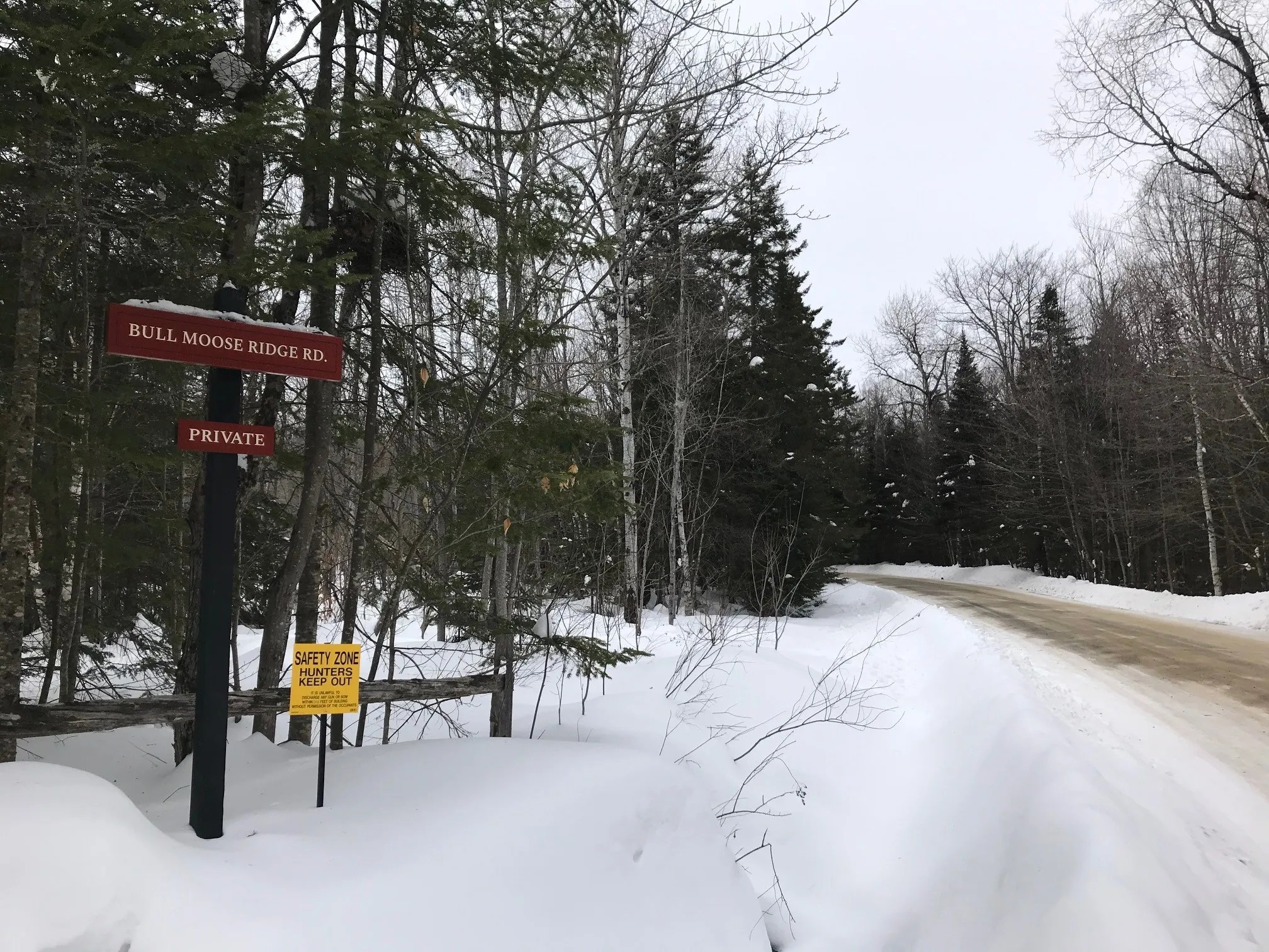 Bull Moose Ridge Road in Stowe, Vt, is a subdivision with just nine homes on 10-acre lots.  As seen on February 18, 2021.
