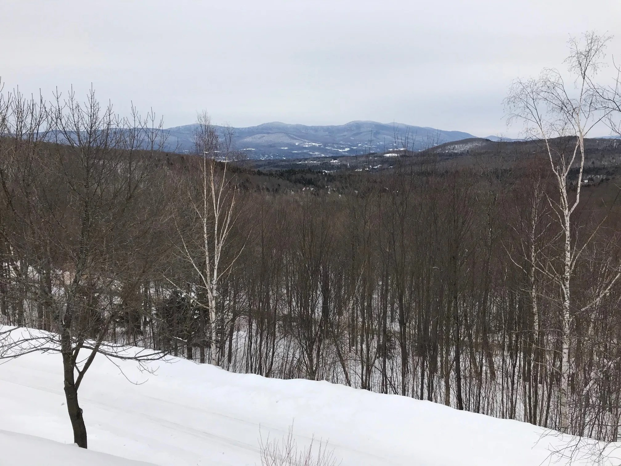 The spectacular view from Mike Krancer's home atop Bull Moose Ridge Road in Stowe, Vermont on February 18, 2021.