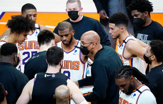 Feb 24, 2021; Phoenix, Arizona, USA; Phoenix Suns head coach Monty Williams talks to his players during a time out against the Charlotte Hornets in the second half at Phoenix Suns Arena. Mandatory Credit: Rob Schumacher-Arizona Republic