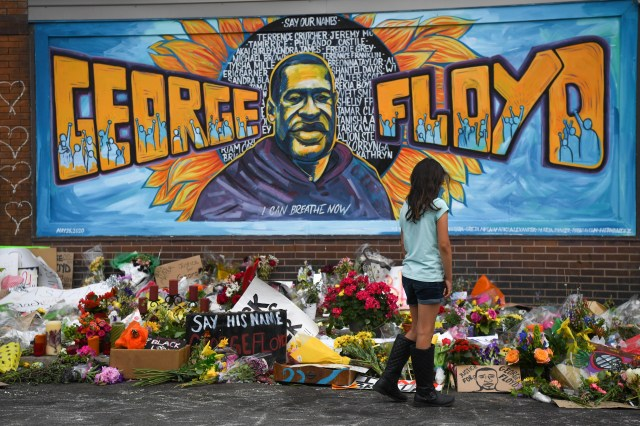 A peaceful vigil at the George Floyd memorial at the Cup Foods Market at the intersection of E. 38th Street and Chicago Ave in Minneapolis on Monday, June, 1, 2020. George Floyd died in police custody on May 25, 2020 at this location.