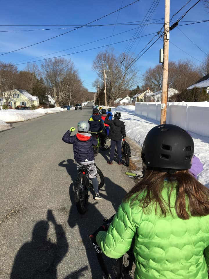 Second and third graders get ready for a full group spring on Hobbs Road in Hampton.