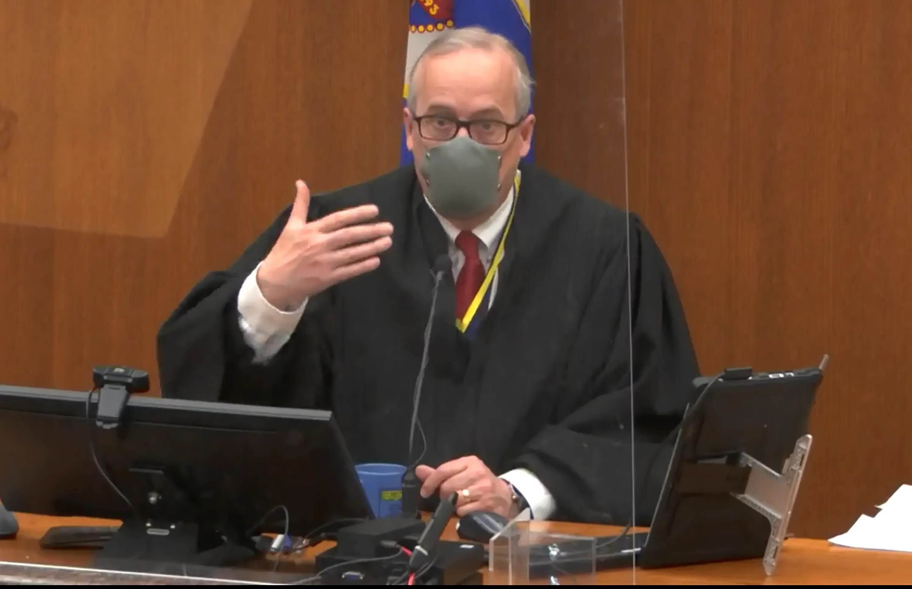 In this screen grab from video, Hennepin County Judge PeterCahill presides over pretrial motions prior to continuing jury selection in the trial of former Minneapolis police officer Derek Chauvin, Wednesday, March 10, 2021, at the Hennepin County Courthouse in Minneapolis.  Chauvin is charged in the May 25, 2020 death of George Floyd.