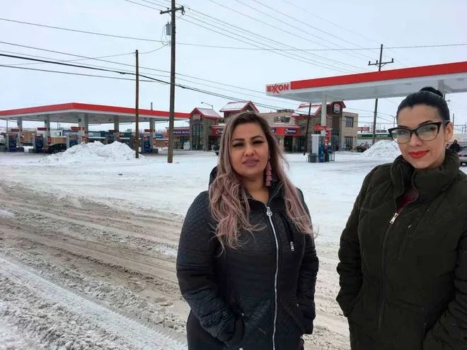 """This January 2019 photo, released by the ACLU of Montana, shows Martha """"Mimi"""" Hernandez and Ana Suda in Havre, Mont., where a Border Patrol agent detained them for speaking Spanish in a convenient store. They sued and settled their lawsuit in November."""