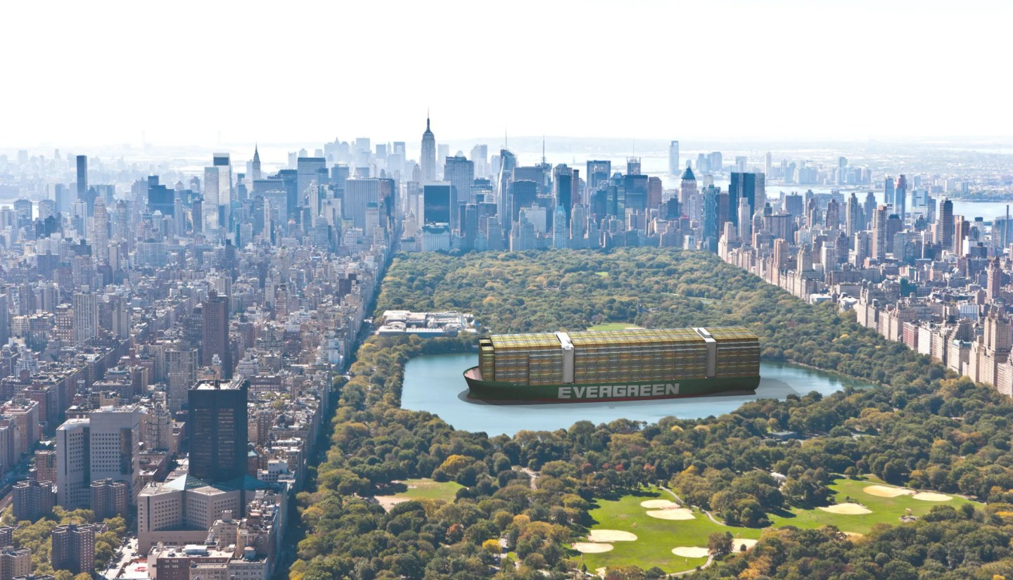 A composited 3D illustration shows how the Ever Given would look in Central Park.