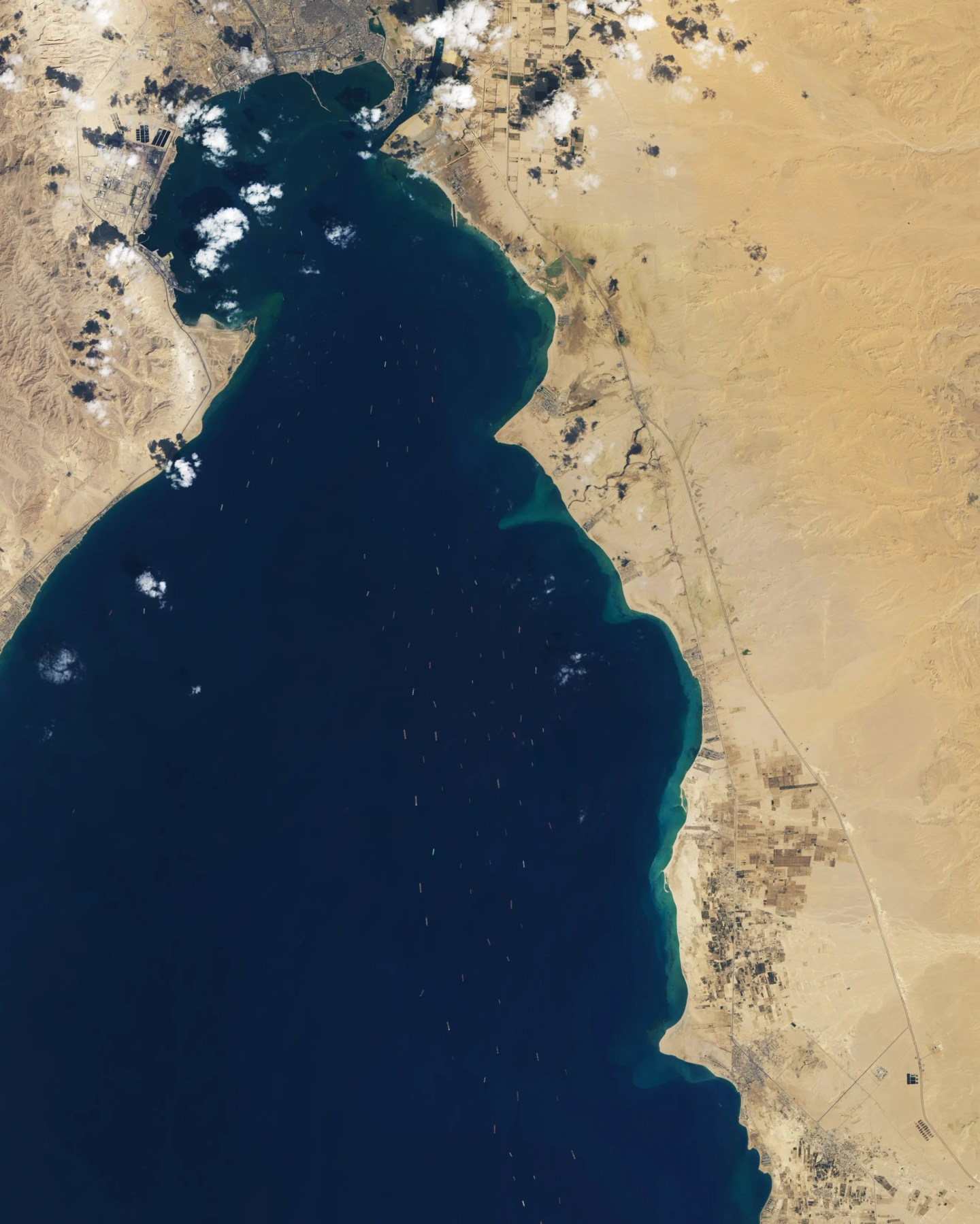 Satellite imagery shows ships jammed up around the Suez Canal.