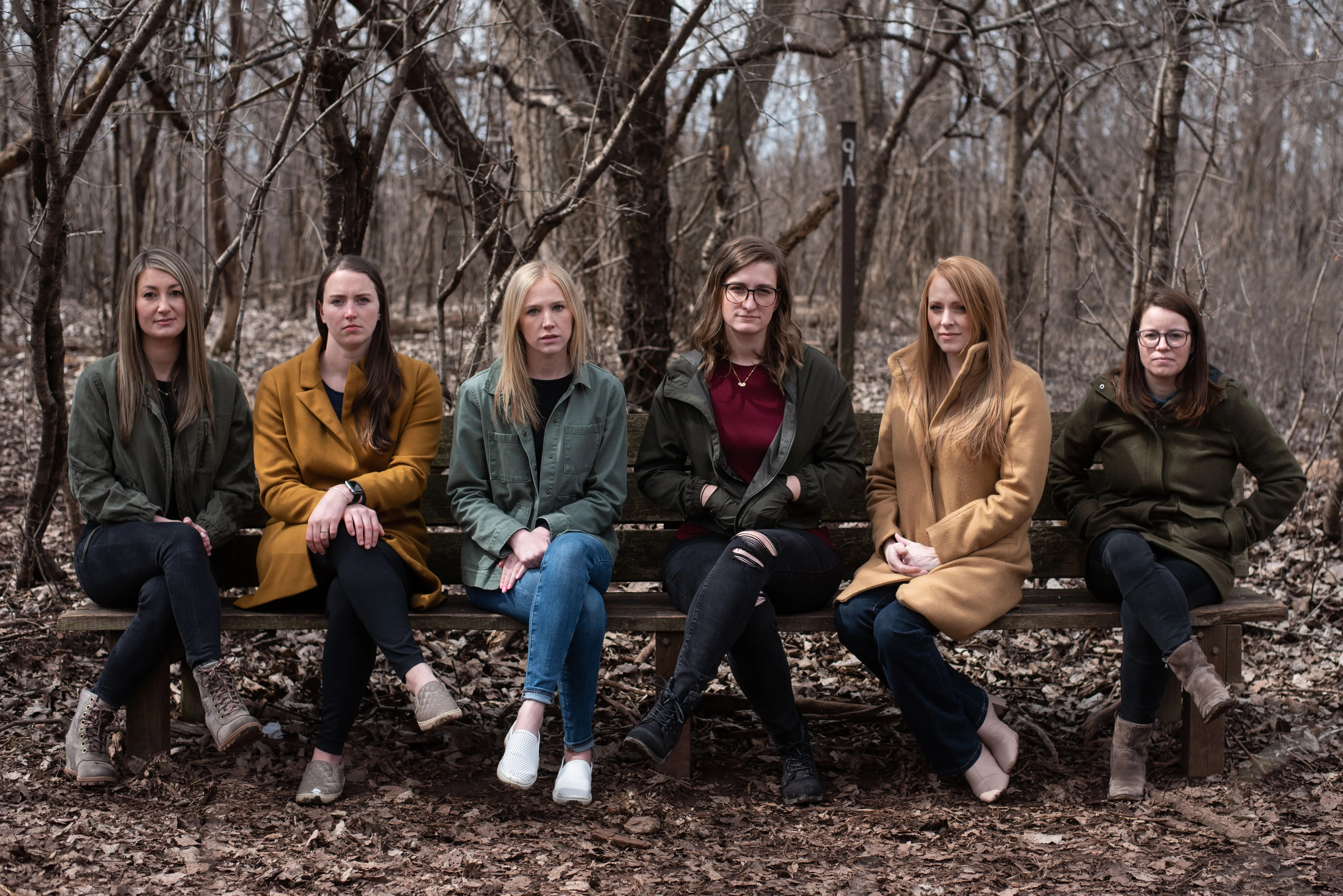 More than 16 women across the country have alleged Wayne Aarum's physical and verbal behavior toward them at either The Chapel or Circle C Ranch from the late 1990s onward was inappropriate and abusive. Six of them were photographed together in Buffalo on Saturday, April 3, 2021. From left are Ashley Scibilia, Rachel Horvath, Jessica Spiesz, Carolyn McDonald, Joy McCullough and Michelle Poulsen.