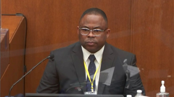 In this image from video, witness Jody Stiger, a Los Angeles Police Department sergeant testifies as Hennepin County Judge Peter Cahill presides Wednesday, April 7, 2021.