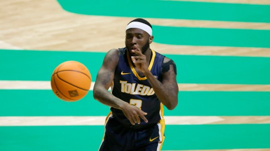 Toledo guard Marreon Jackson (3) passes the ball against Richmond during the first half of an NCAA college basketball game in the first round of the NIT, Wednesday, March 17, 2021, in Denton, Texas. (AP Photo/Ron Jenkins)