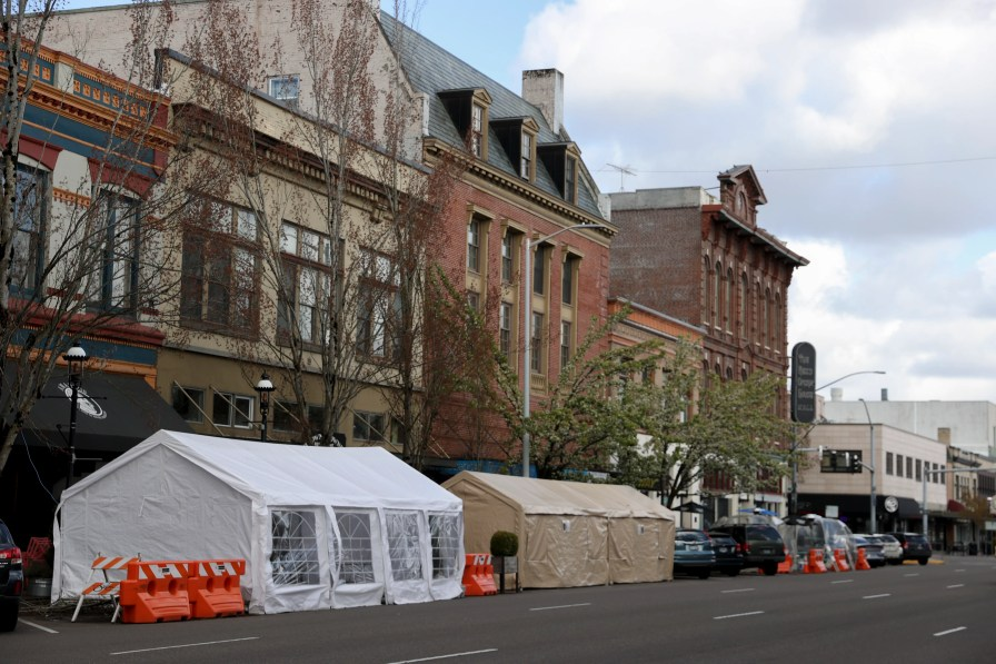 Outdoor dining and tents are located along Liberty St NE in Salem, Oregon, Thursday, April 8, 2021.